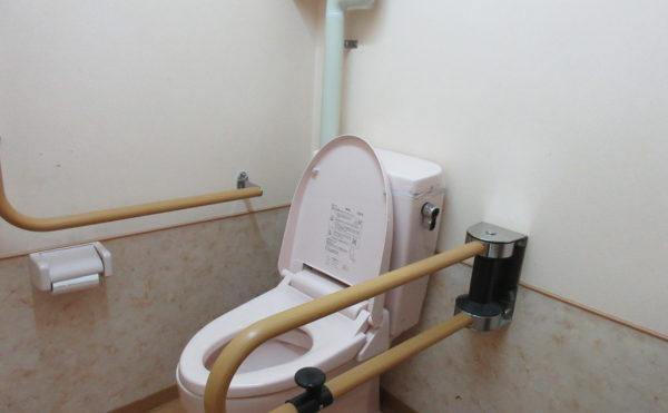 共有トイレは補助バーもシッカリとついています