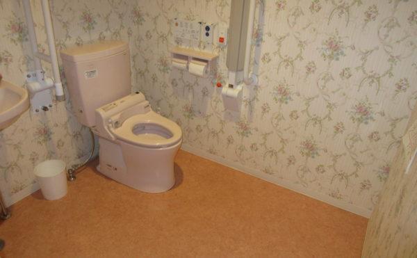 共有のトイレは広々としています