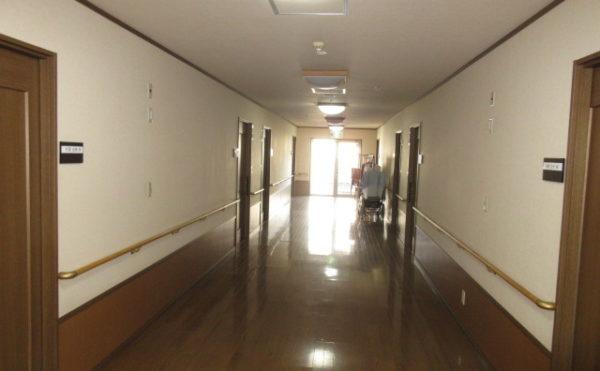 施設の廊下は非常にシックの色使いで落ち着いた雰囲気です。